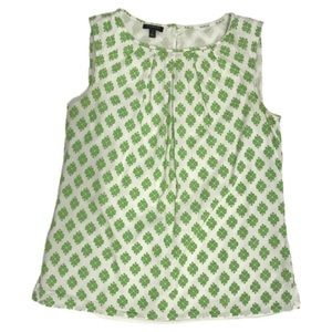 TALBOTS Green & Off-white Sleeveless Blouse Sz 4